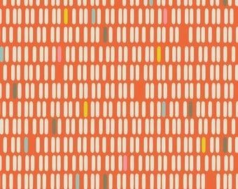 Abstract Orange Stripe Fabric - See You Later Orange Stripe By Zesti - Abstract Modern Home Decor Cotton Fabric By The Yard With Spoonflower