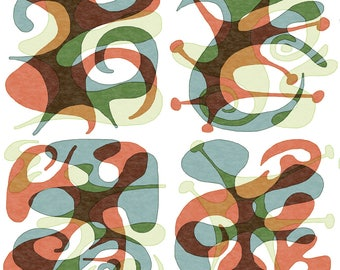 Watercolor Fabric - Mid Century Retro 2 By Andiart - Watercolor Paper Cut Mod Geometric Shapes Cotton Fabric By The Yard With Spoonflower