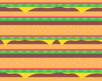 Hamburger Fabric - Burgertopia By Earlfoolish - Hamburger Novelty Food Large Scale Cotton Fabric By The Yard With Spoonflower