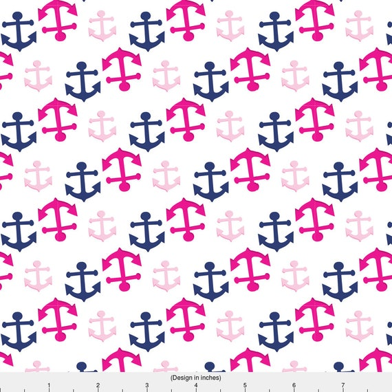 Pink anchor fabric pink nautical 05 by prettygrafik for Nautical nursery fabric