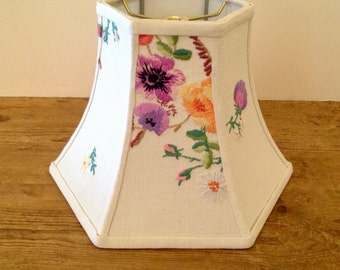 """Cottage Flower Lamp Shade, Hex Bell Lampshade in Vintage English Embroidery, 5""""t x 10""""b x 7.5""""h washer top, Lovely Needlework, Super Pretty"""