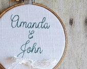 Personalized Linen Ring Bearer Hoop  - 4 or 6 inch