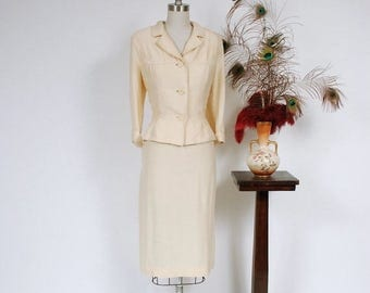 SALE - Vintage 1950s Suit - Ivory Rayon Blend Tailored Spring Suit with Belted Back, Nipped Waist and Defined Hips.