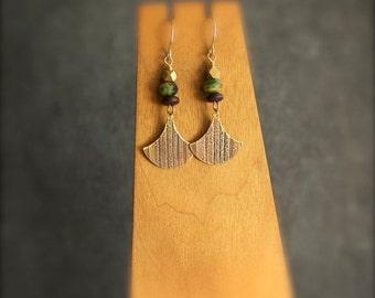 ON SALE Etched Brass Dangle Drop Earrings Pendulum Swing Gold Metal Brown Wood Green Blue Glass Stripe Texture Lines Tribal Boho Jewellery