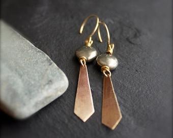 ON SALE Grey Pyrite, Gold Brass Dangle Earrings - Oxidized Patina, Textured Diamond, Long Point, Boho Stone Jewellery
