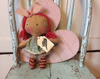 Bird raggedy Annie doll - Raggedy Ann - Ragdoll - Bird lover - doll - primitive doll - Mother's Day gift -