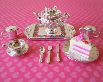 Vintage Stocking Stuffer Dollhouse Miniatures Tea Set with Cake Teapot Cup and Saucer Creamer and Sugar Accessories for Barbie Doll