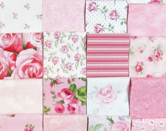 20 Jelly Roll Strips~Shabby Cottage Chic~A Symphony of Pink & Rose Fabric~#8