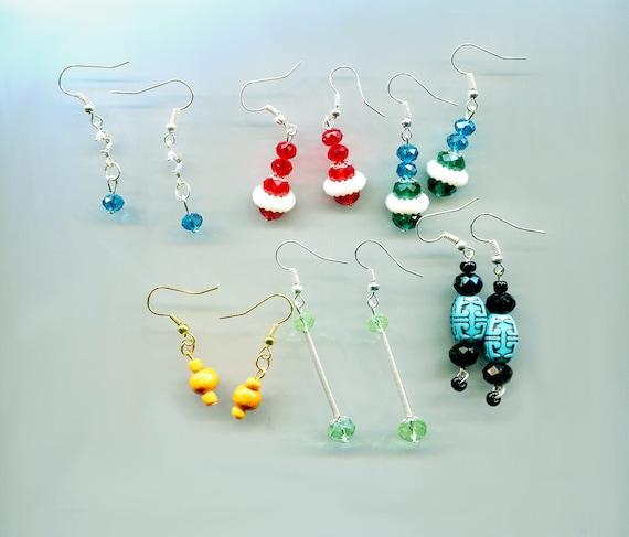 6 pairs bead drop dangle earrings wholesale lot earrings lot wood glass plastic beads wholesale earrings wholesale jewelry mixed lot