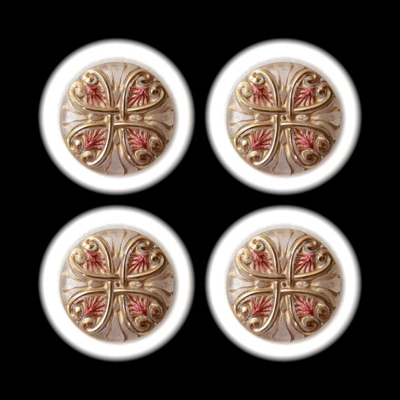 4 Czech Glass Buttons 32mm - 1 1/4 inch Gold Winter Heart with Decorative Red Leaves on Frosted White - DESTASH LOT SPECIAL