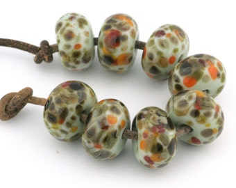 Sherwood Forest Handmade Lampwork Glass Beads (8 Count) by Pink Beach Studios (2292)
