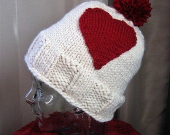 Valentine's Day Hat Beanie Knit Red Heart Applique & Pom Pom Beanie Bulky Hand Knit Noggin Warmer by Textilesone Adult Size Ready to Ship