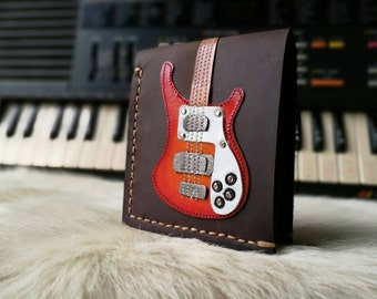 New item!!Free!! initials stamp Hand Stitch Men Wallet Rickenbacker Bass Guitar Red Color