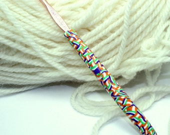 Polymer clay covered crochet hook, Susan Bates size E/4 or 3.50mm, handmade one of a kind design