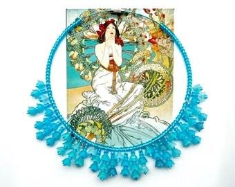 BELLA AZURA Blue Bridal Choker, Statement Choker, Flower Choker, Art Nouveau Choker, Cottage Chic Choker, Modern Choker, Graduation Choker