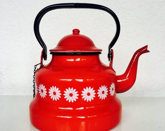 Vintage Red Enamelware Kettle