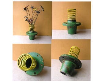 Metal Flower Vase Unique Vase Colorful Vase Industrial Decor table centerpiece entryway office art Girlfriend Gift junk gypsy green yellow