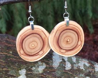 Funky Fun Lilac Lightweight Reclaimed Wood Earrings