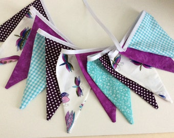 Purple butterfly Bunting - Fabric Garland Banner, with a mix of purples and blue, Photo Prop, Room Decoration