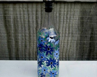 Dish Soap Dispenser,  Recycled Clear Beer Bottle, Painted Glass, Oil and Vinegar Bottle, Blue and Purple Flowers