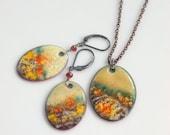 Save 30% Landscape Colors Nature Dangle Earrings & Pendant, Copper Enamel Original Set, Warm Colors, Impressionist Design, Artisan Kiln-fire