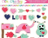 70% OFF SALE Valentines Day Clipart Graphics Hearts Arrows Love Birds Letters Monsters & Sugar Cookie Clip Art Instant Download