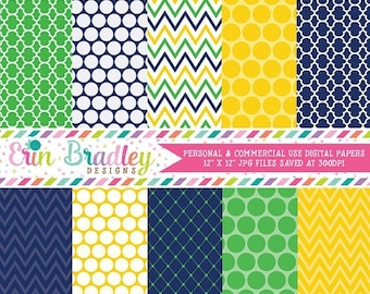 50% OFF SALE Yellow Blue and Green Digital Paper Set Commercial Use Instant Download