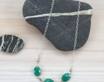 Green Agate Trio Necklace in Sterling Silver