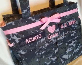 U S Navy Baby Diaper bag handmade custom embroidery Available in Army Marine Air Force Multicam personalized diaper bag homemade diaper bag