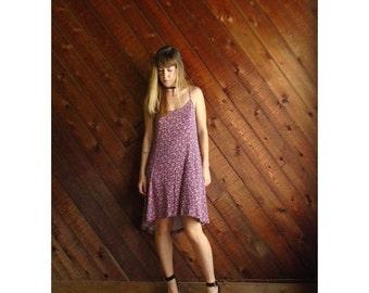 20% off SALE ... Ditsy Floral Fishtail Hem Mini Dress - Vintage 90s - M L