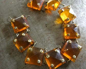Vintage Glass Chandelier Chain Connected by Brass 8 Inches Golden Topaz