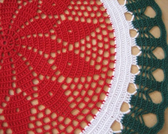 Crochet, Gorgeous handmade doily,Christmas ,red, green, white, ready to mail, home fashion