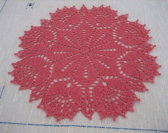 Coral Crochet Lace Doily, Coral Crochet Doily, Coral Lace Doily
