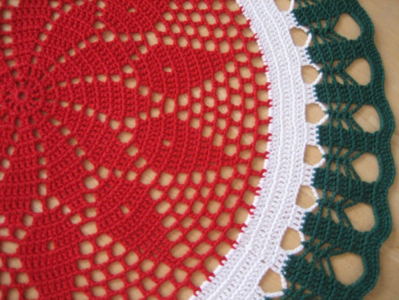 holiday sale Crochet, Gorgeous handmade doily,Christmas ,red, green, white, ready to mail, home fashion