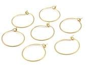Brass Earring Wires, 50 Raw Brass Earring Wires  (20x0.7mm) BS 1243