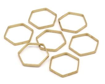 Brass Hexagon Charm, 25 Raw Brass Hexagon Ring Charms (20x0.8x2mm) BS 1186