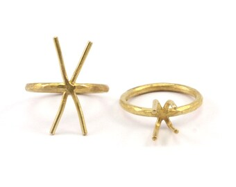 Claw Ring Setting, 5 Raw Brass Claw Ring Blanks With 4 Claws For Natural Stones N102