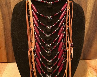 Native American leather loop necklace