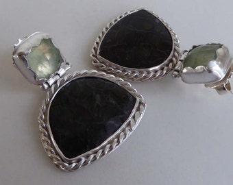 Olivine and Prehnite silver post & scroll stud earrings