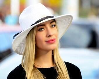 Wide Brimmed White Fedora Hat Sunblock Hat Packable Hat Crushable Hat Travel Hat Straw Fedora Beach Hat Women's Hat Music Festival Hat