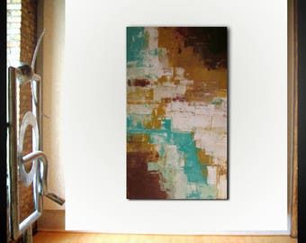 Original large abstract painting palette knife wall art deco by Elsisy 50x30 Free US shipping Sienna Aqua
