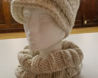 Knit Newsboy Cap and matching Cowl