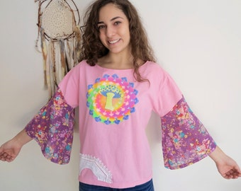 Psychedelic Mushroom Mandala Print Off The Shoulder Eco Friendly Bell Sleeve Hippie Top Shirt Upcycled OOAK Eco Friendly Tee Tshirt Large/XL