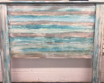 beach house blue Queen headboard farmhouse rustic distressed beach home cottage renovation Beach House Dreams LOCAL PICKUP OBX Outer Banks