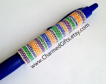 Pen with Beaded Sleeve Cover - Reusable - Horizontal Stripes in Blue, Orange and Purple