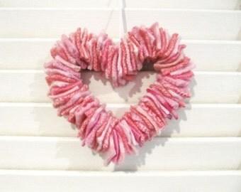 Valentines Day Pink Heart Wreath Wedding Decoration Nursery Decor Baby's Room Wall Decoration Wool Scrap Ornament 47