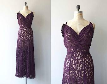 Coupe de Foudre gown   vintage 1930s dress   long lace 30s dress