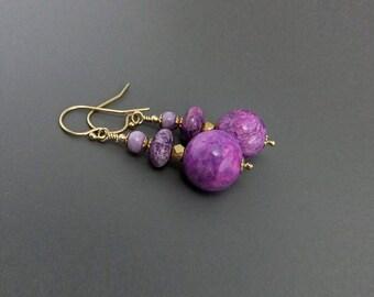 Fuchsia Purple Sugilite Gemstone Bead Drop Earrings, Handmade, gold filled ear hooks gemstone rondelles deep pink