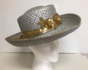 Vintage Silver and Gold Straw Hat.