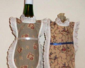 Dish Soap Apron, Handmade, Floral Antique Look, Bottle Gift Wrap, Wine Bottle, Detergent Cover,  Eyelet Lace